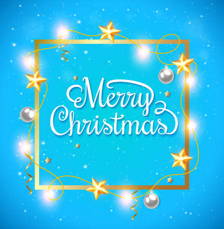 stars background: Decorative Christmas frame with greeting inscription and stars on a blue background Illustration