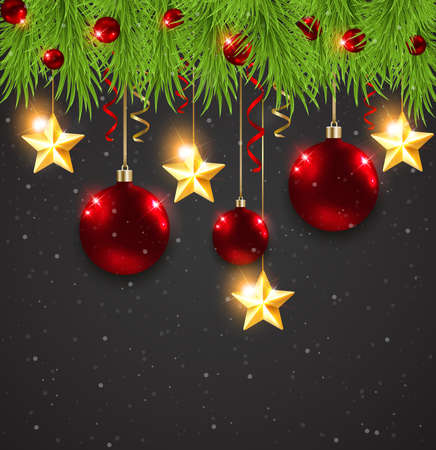 red christmas decorations and fir branches on a black background royalty free cliparts vectors and stock illustration image 48620392