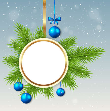 fir branch: Christmas background with round banner, green fir branch and blue decorations