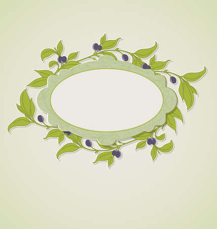 green olive: Decorative floral background with green olive branches and label
