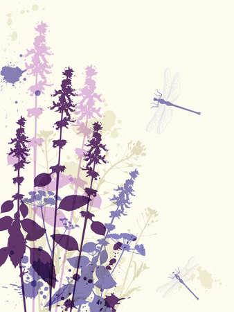 fiori di campo: Astratto sfondo floreale con fiori viola e la libellula Vettoriali