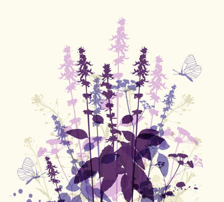 violet flowers: Abstract floral background with violet flowers and butterfly