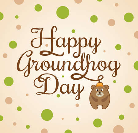 marmot: Card for Groundhog Day with marmot and greeting inscription