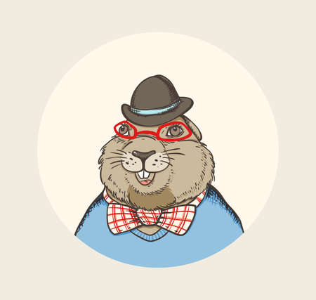 marmot: Hand drawn card for Groundhog Day with marmot hipster