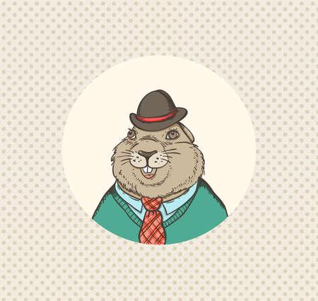 Hand drawn vector illustration for Groundhog Day Ilustração