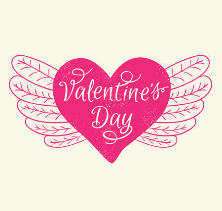 romance: Romance Valentines day greeting card with pink heart.