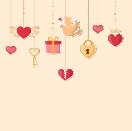 key: Vector decorative romance background for Valentines day. Flat design style.