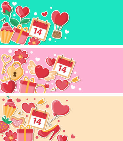 key: Vector decorative banners for Valentines day. Flat design style.