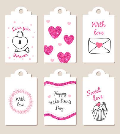 Dekorative Bages mit rosa Glitzer-Elementen für den Valentinstag