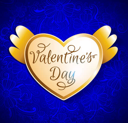 golden background: Valentine card with golden shining heart on a blue floral background Illustration