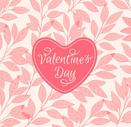 valentine card: Decorative pink floral background with heart for Valentines day Illustration