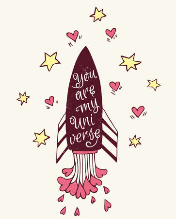 pink skies: Hand drawn vector illustration with rocket and hearts Illustration