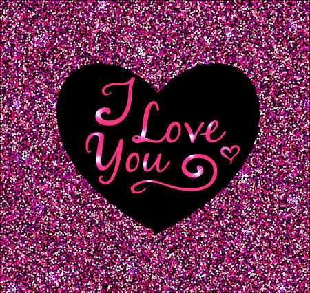 paillette: Abstract pink glittering background with heart for Valentines day Illustration