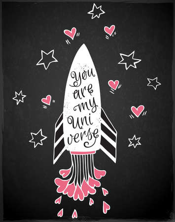 festival: Hand drawn vector illustration with rocket and hearts on a black background