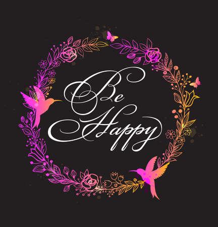 rosa negra: Marco floral decorativo con las flores, los p�jaros y la inscripci�n de felicitaci�n.