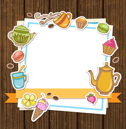 chicchi di caff�: Vector background with tea, coffee and sweets Vettoriali