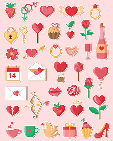 romantic: Set of vector Valentine icons in a flat style