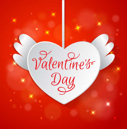 hand red: Decorative red background with white paper heart for Valentines day