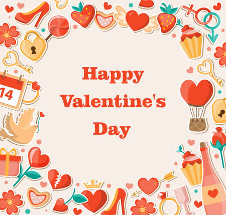 festival: Vector decorative background for Valentines day. Flat design style.
