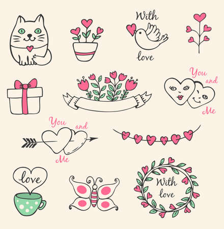 pink flower: Hand drawn vector decorative Valentine elements for design