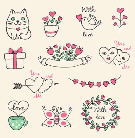 papillon dessin: Main vecteur dessin� �l�ments Valentine d�coratifs pour la conception