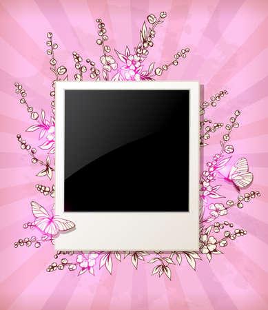 rosa negra: vector de fondo rosado de la vendimia con las flores y foto