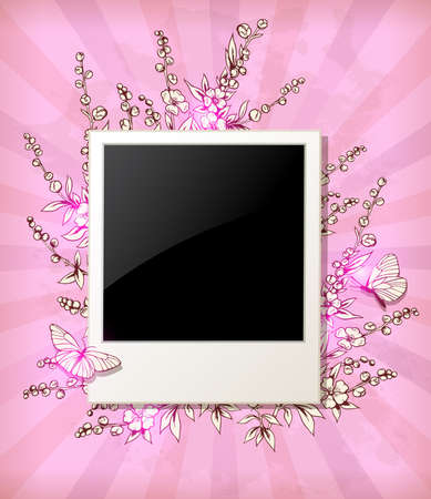 pink vintage: Vintage pink vector background with flowers and photo
