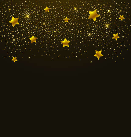 Abstract vector background with golden shining stars Illusztráció