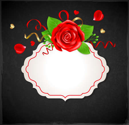 red rose black background: Decorative romantic banner with red rose and green leaves on a black background Illustration