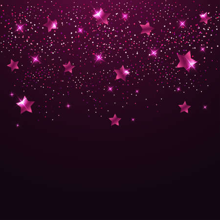 pink and black: Abstract vector background with pink shining stars Illustration