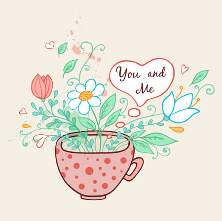 pink flower: Romantic background with pink cup of coffee and flowers Illustration