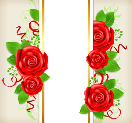 Scheda decorativa con rose rosse e foglie verdi. Illustrazione vettoriale.