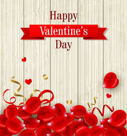 Romantic Valentines day card with red rose petals on a wooden background