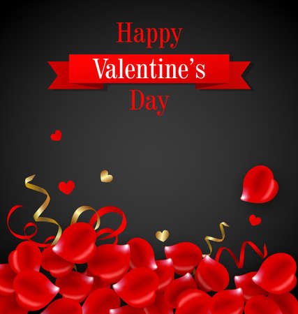red rose black background: Romantic Valentines day card with red rose petals on a black background