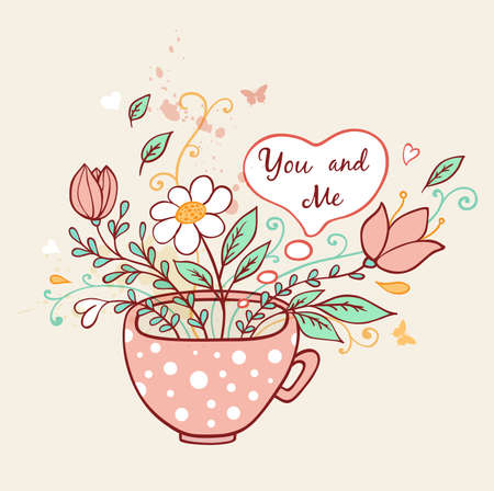 chamomile tea: Valentine card with pink cup of coffee and flowers
