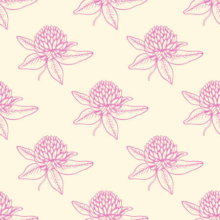 seamless clover: Decorative seamless pattern with pink clover flowers