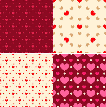 background pink: Set of decorative seamless patterns for Valentines day