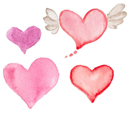 red pink: Set of pink watercolor hearts for Valentines day Illustration