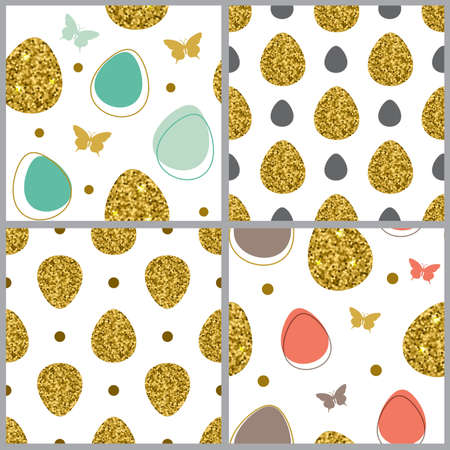 golden eggs: Decorative Easter seamless pattern with golden eggs