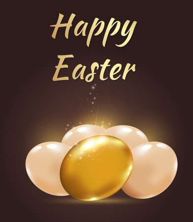 golden eggs: Decorative vector Easter background with golden eggs