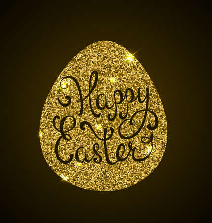golden egg: Luxury Easter background with golden egg and greeting inscription