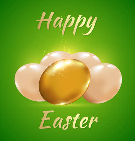 golden eggs: Easter card with golden eggs on a green background