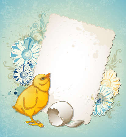 retro flower: Vintage Easter card with yellow chicken and flowers