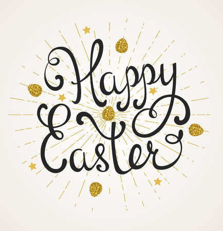 golden eggs: Vector Easter background with greeting inscription and golden eggs