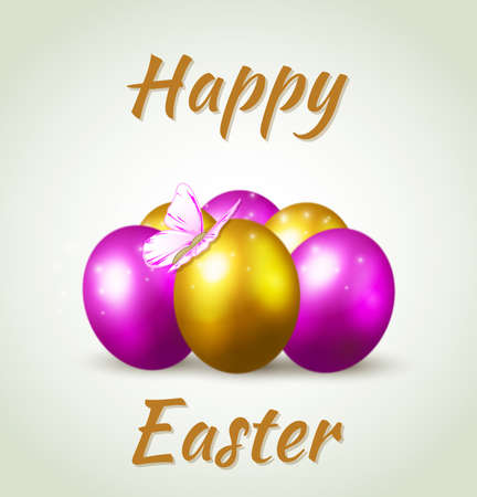 golden eggs: Decorative Easter background witn purple and golden eggs Illustration