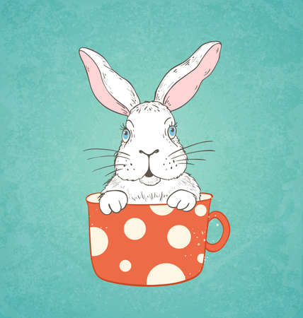 hand drawn: Hand drawn Easter card with white rabbit in a red cup