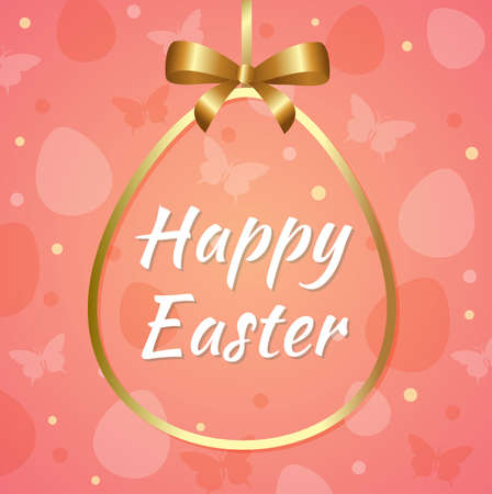 banner background: Pink Easter background with greeting inscription in golden frame