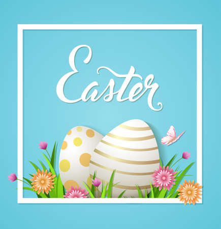 pink flower: Easter card with eggs and flowers on a blue background. Vector illustration. Illustration