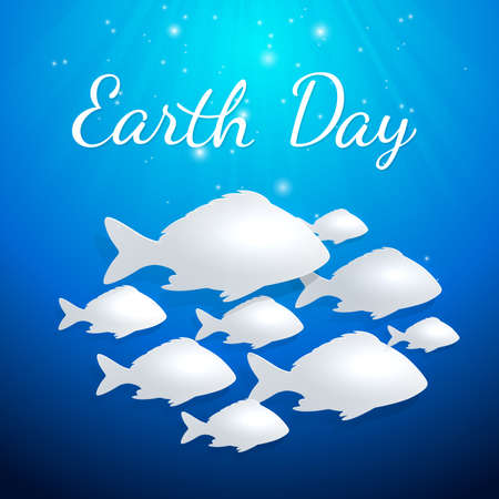 swims: Blue background with white fishes for Earth Day. Vector illustration.