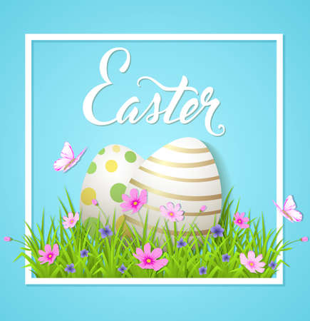 cosmos: Easter card with eggs and cosmos flowers on a blue background. Vector illustration. Illustration